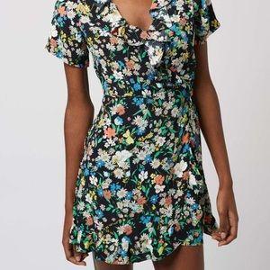 Top shop black floral wrap dress